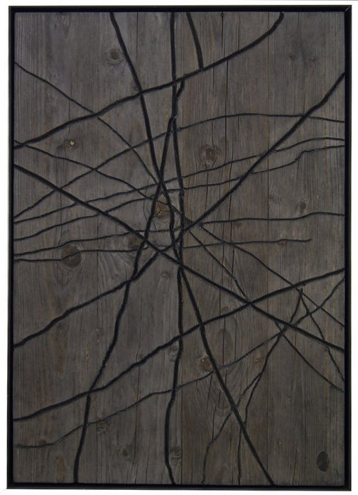 IF LINES GO OUTSIDE FOR A WHILE Nr. I Holz, Lack, Metall I 70 x 50 cm